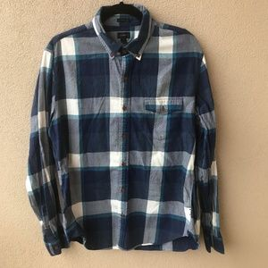 J. Crew Slim Fit Blue Plaid Button Down Shirt